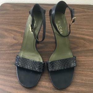 Black Gucci Snake Skin Heels